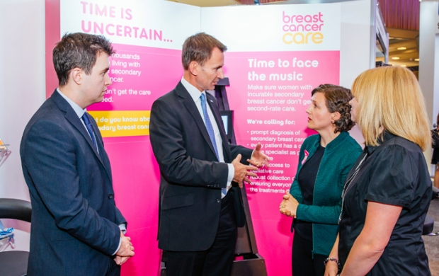 Jeremy Hunt at the Conservative party conference with Breast Cancer Care