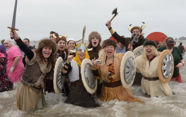 Kathyrn and her friends dressed as vikings