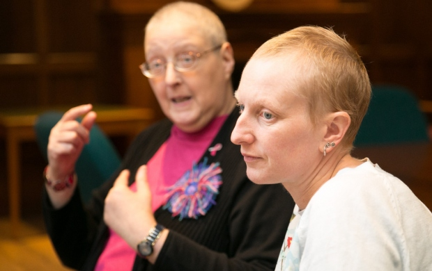 Two concerned women with breast cancer