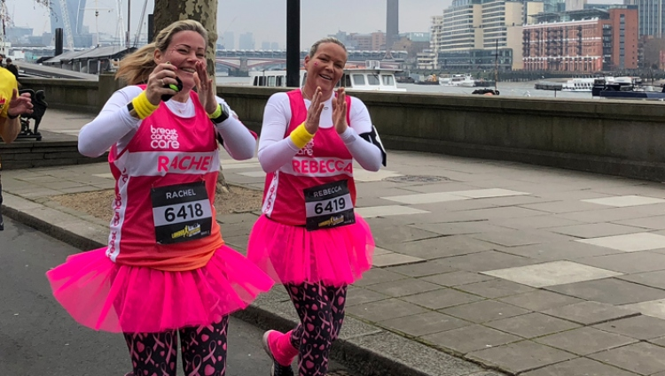 Two women running the London Landmarks Marathon