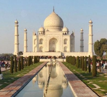 The Taj Mahal in India on a sunny day