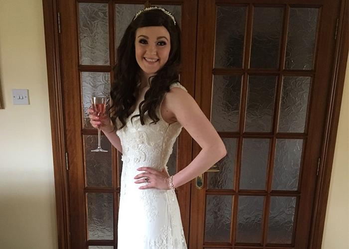 Cliona in her wedding dress