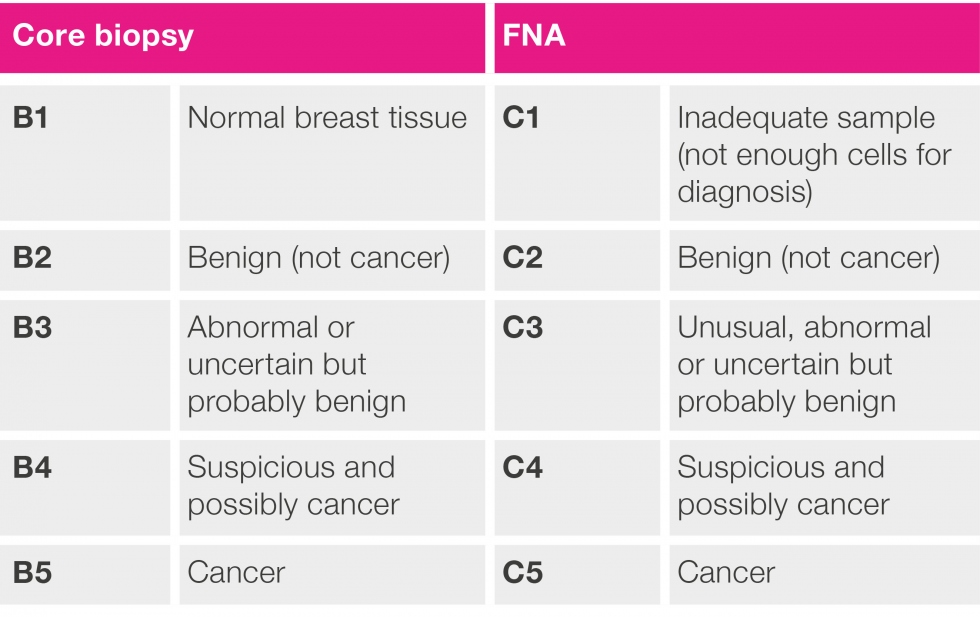 chart showing how core biopsy and FNA results are described