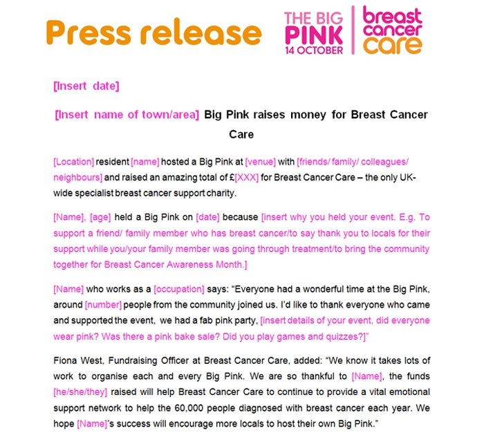 big pink post-event press release