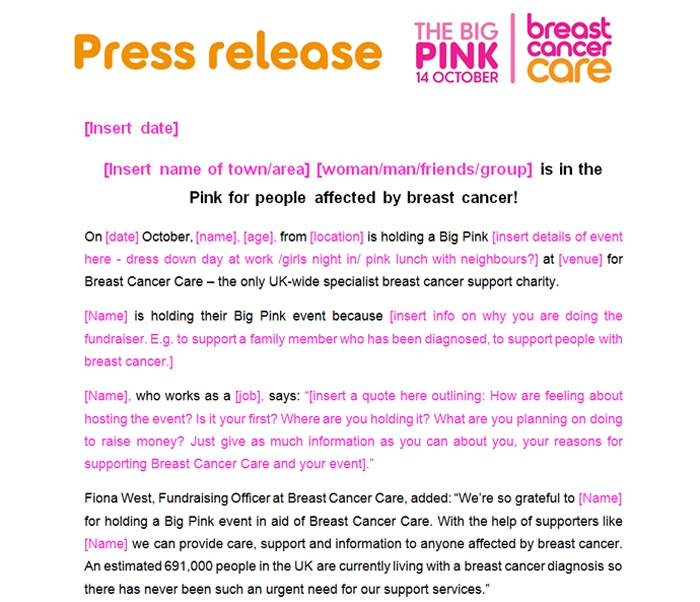 Fundraising materials breast cancer care for Press release template for event