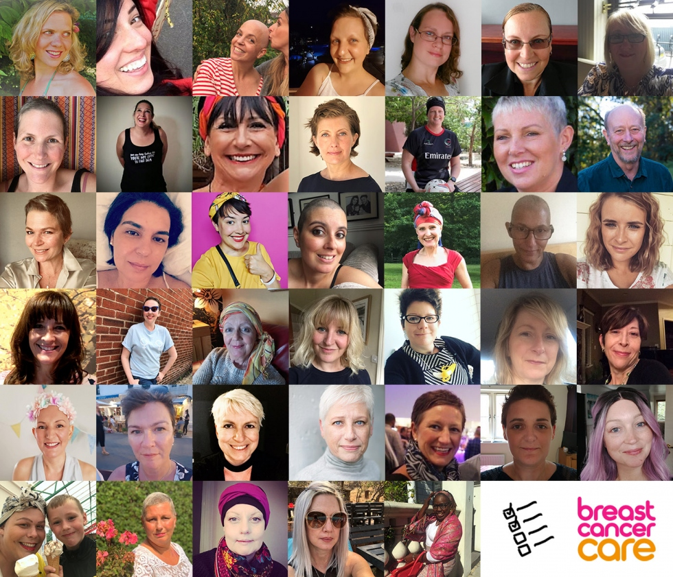 A collage of 40 women who have contributed to Sara's video
