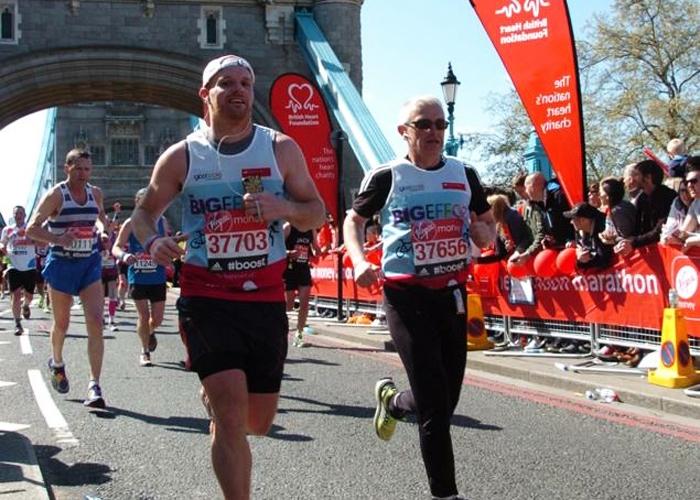 Dean running the marathon