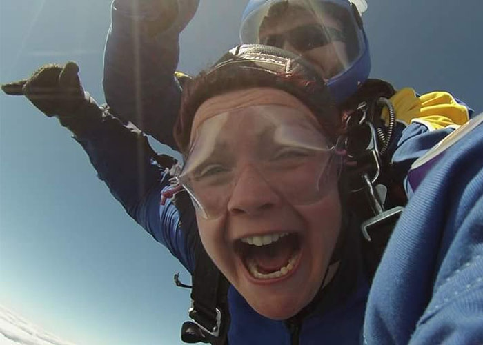 Claire Ann on a skydive after her treatment
