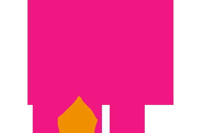 A pink rain cloud with orange rain drops