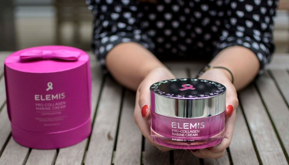Elemis Pro-Collagen Marine Cream coloured pink to support Breast Cancer Care