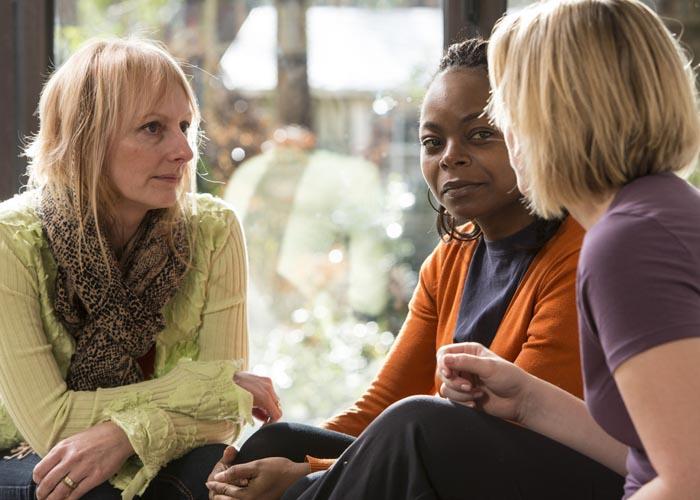 Three women chatting