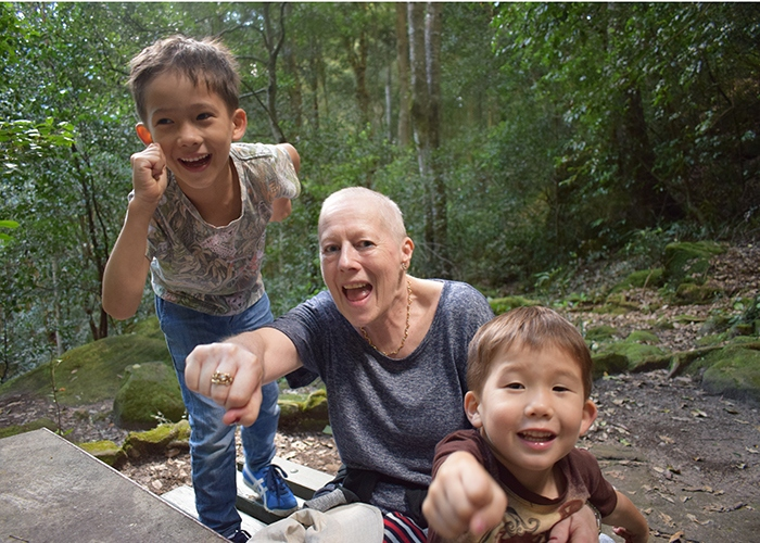 Fran with her grandchildren