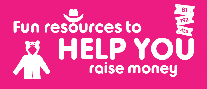 A graphic with the words fun resources to help you raise money on