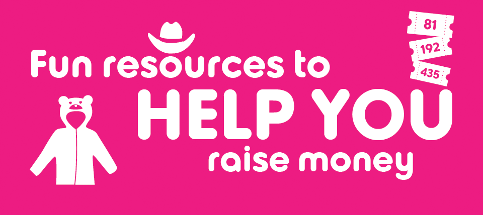 An graphic with the words fundraising materials on in