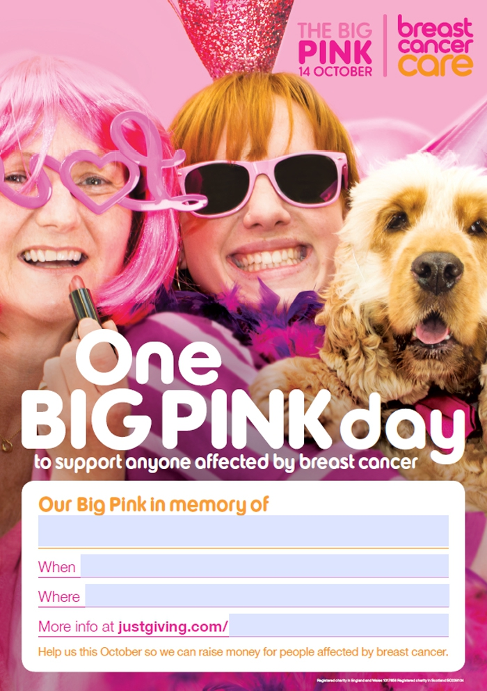 in memory big pink poster with form