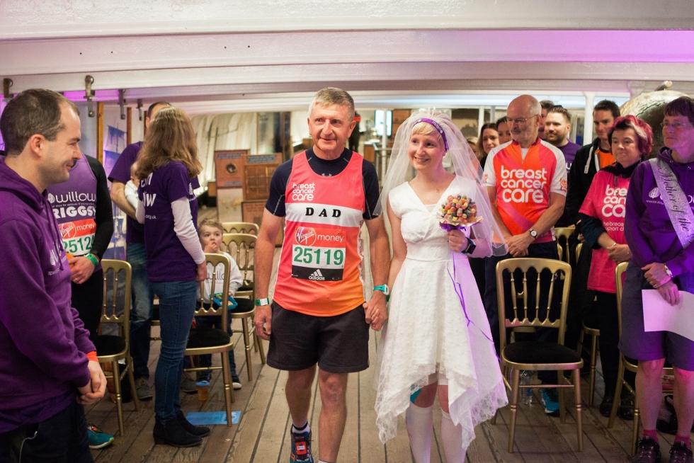 Jackie ran the London Marathon on her wedding day