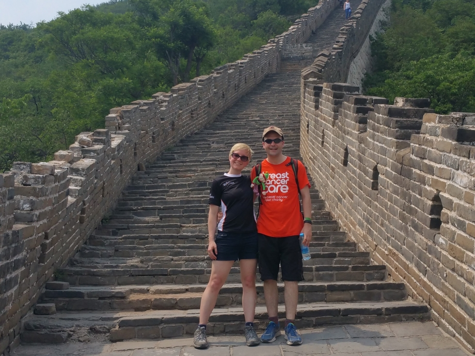 Jackie and Duncan trek the Great Wall of China on their honeymoon