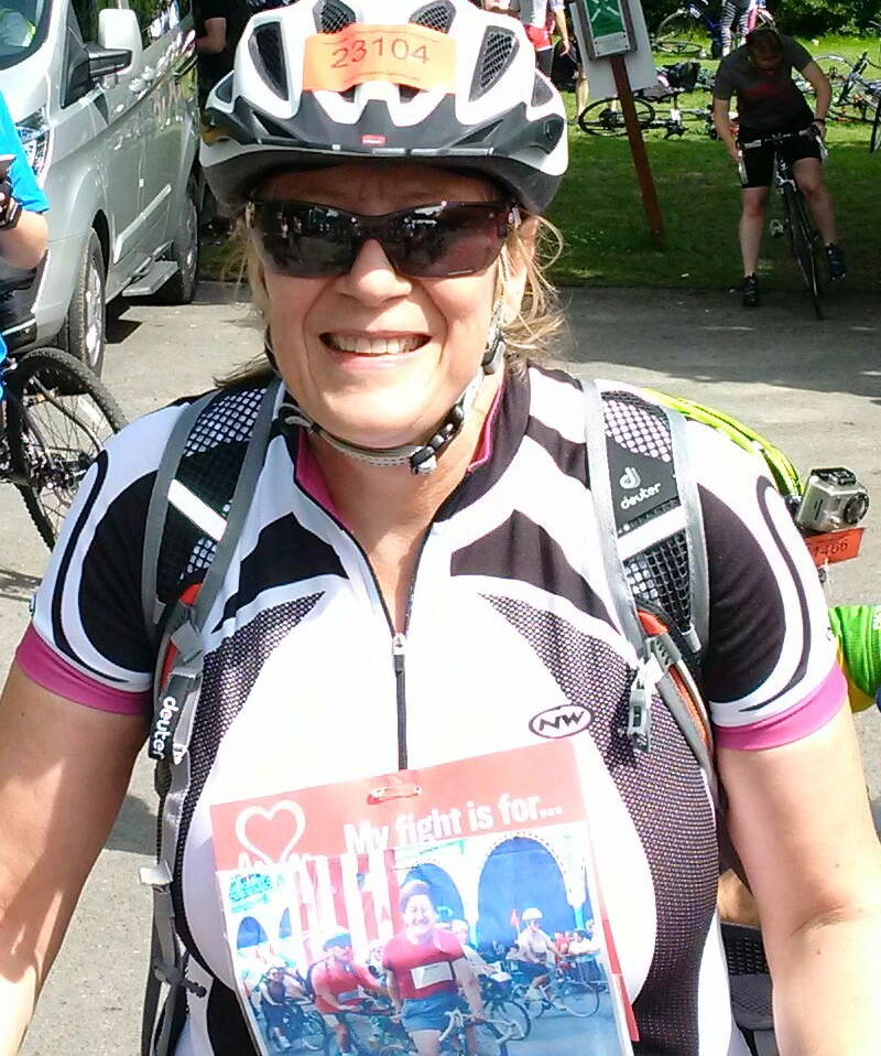 Sue cycling the London-Brighton challenge