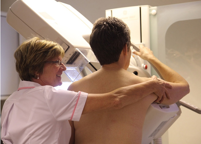 mammogram machine in use