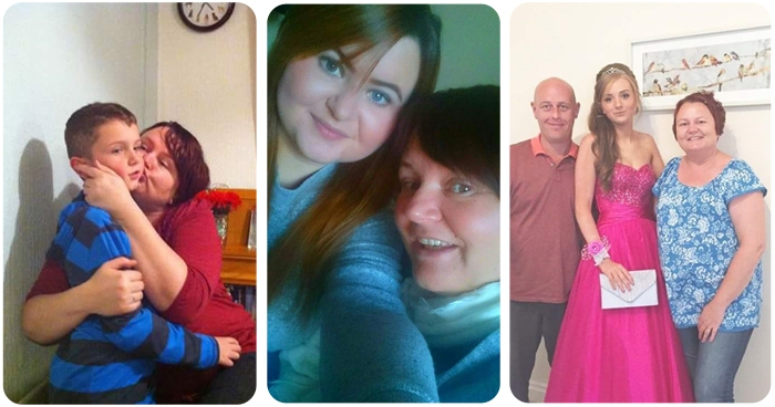 A montage of Kirstie, her mum and brother and sister