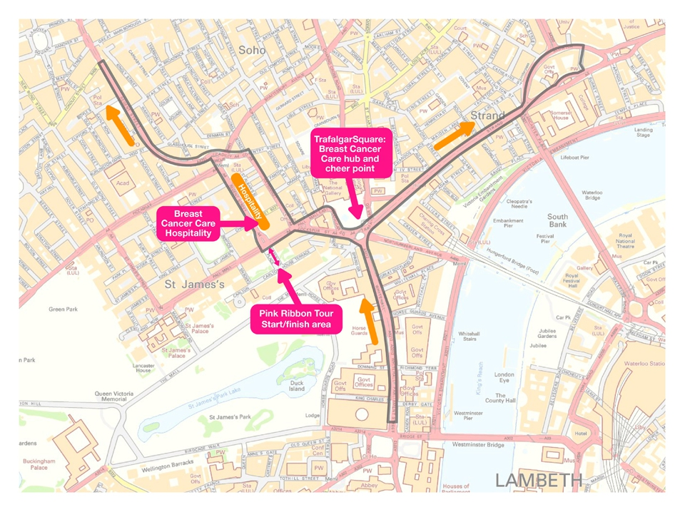 Download the Pink Ribbon Tour London route map