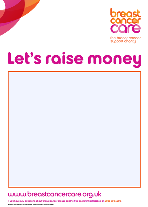 A promotional poster for your Breast Cancer Care fundraising event