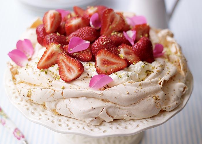 A strawberry pavlova