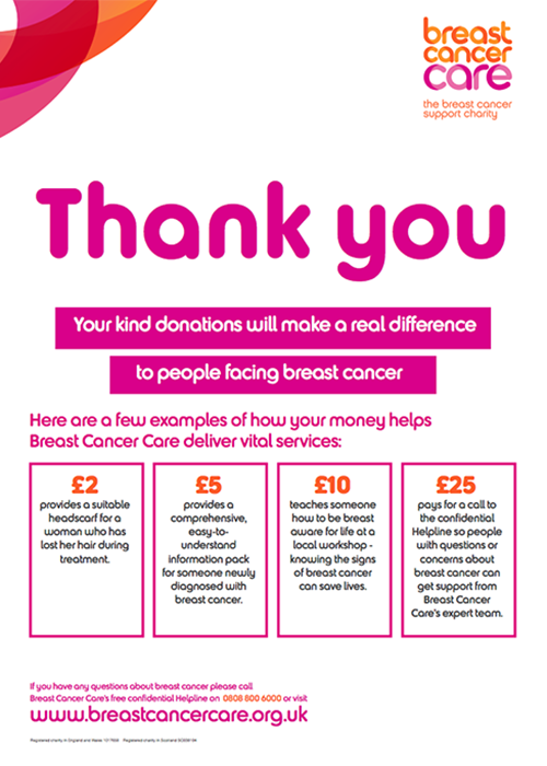 A Breast Cancer Care fundraising poster