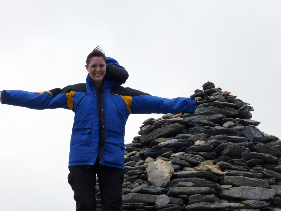 Rebecca at the top of Snowdon
