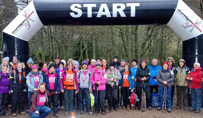 A group of walkers repare for their Ben Nevis charity walk