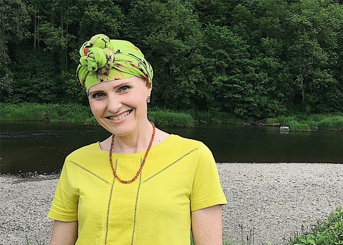 Patricia wearing a headscarf