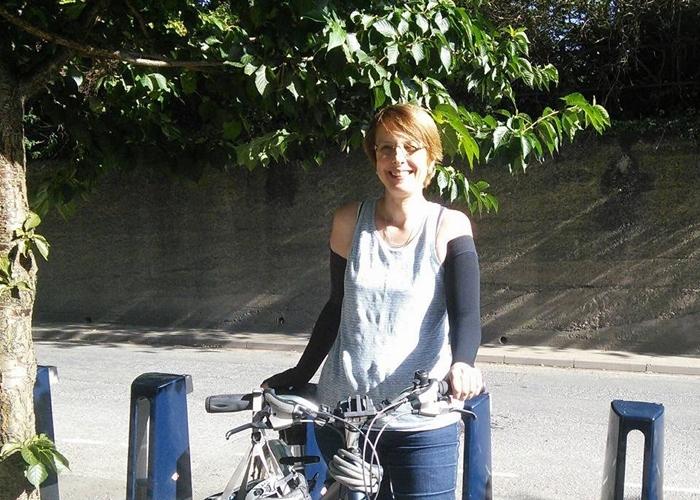 Tamsin on her bike