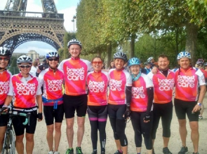A Breast cancer Care cycling team prepare to set off