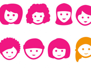 A graphic with 7 women in pink and one in orange