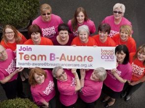 Chris Weir and the team from B-Aware, the Breast Cancer Care project her major donation funded