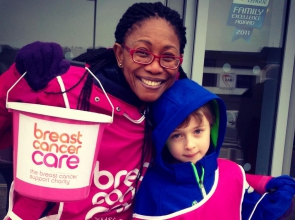 Breast Cancer Care fundraisers holding collection buckets