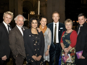 Samia al Qadhi, Breast Cancer Care's Chief Executive, pictured with guests and celebrity ambassadors at Breast Cancer Care's annual Carol Concert