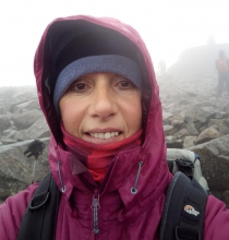 Alison takes a selfie on the peak of Ben Nevis