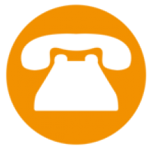 An orange breast cancer care helpline icon