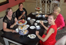 Friends having afternoon tea
