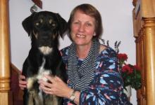 Moving Forward volunteer Janet and her dog, Jasper