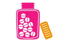 Drug bottle illustration